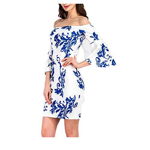 Sola colored Porcelana Multi de Mujeres Colored Multi de Pieza Size Azul Palabra una Blanco Isbxn S Elegante de Las una Vestido y de Color FUngwxIq