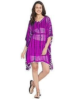 60f22a8883 SOURBH Women's Kaftan Top Beach Wear Shibori Printed Tassel Bikini Boho  Body Cover Up Dress Girls