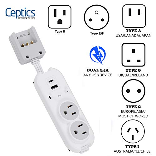 Safest Travel Power Strip W/ Adapter Plug Set - Equipped with USB, Type C for iPhone, Chargers, Cell Phones, Laptop - Plugs for Europe, Asia, China, USA, Africa, South America