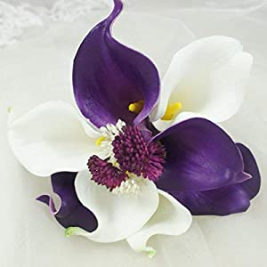 Lily Garden Real Touch Calla Lily Purple and White Flowers Wedding Bouquet (Flower Girl) 95