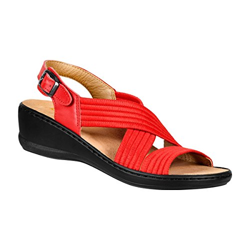 Sandalo Da Donna Elasticizzato, Sandali Con Cinturini Elastici Per Una Perfetta Vestibilità Rossa