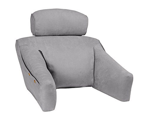 Bedlounge (Regular Size, Microsuede Cover, Cool Gray Color): The Ultimate Reading Pillow, Back Support Pillow, Tv Pillow and More … by BedLounge