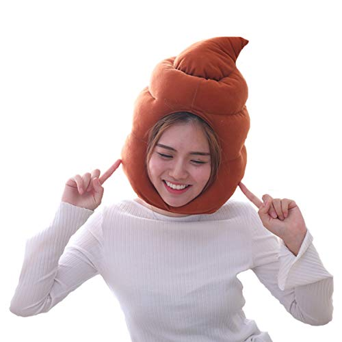 HYYER Poop Hat Excrement Cap Shit Funny Plush Gift Cosplay Halloween Easter Party Birthday -