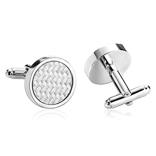 - KnSam Men Stainless Steel French Cufflinks Mother of Pearl Circle White