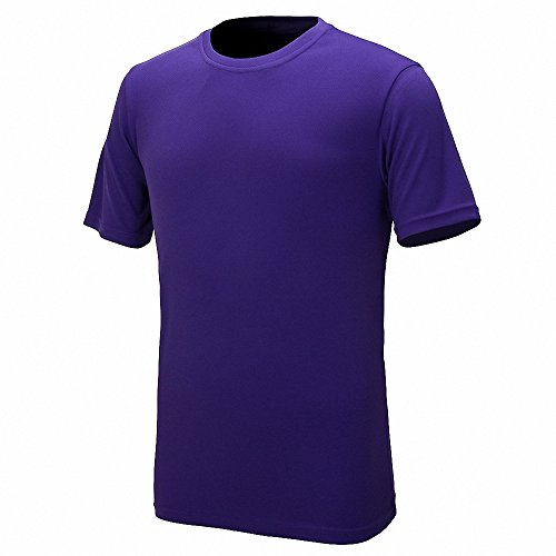Maoko Mens Sports Short Sleeve Polyester T-Shirt,Running T Shirts for Boys Quick Drying Purple