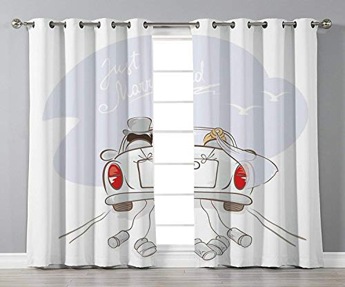 (VANKINE Customize Window Curtains,Wedding Decorations,Just Married Retro Hand Writing Bride and Groom in Car Cans Birds,Silver Red White,2 Panel Set Window Drapesom Kitchen Cafe)
