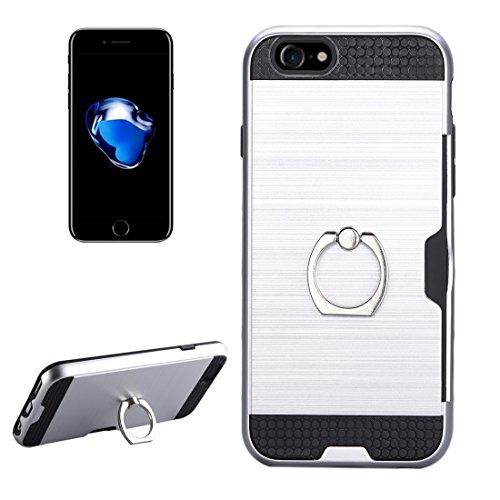 Wkae Textura de metal de protección trasera con soporte de anillo de soporte y ranura para tarjeta para el iPhone 7 ( SKU : Ip7g5016w ) Ip7g5016s