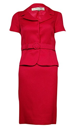 Tahari ASL Womens Petites Renee Textured Short Sleeves Skirt Suit Pink 14P (14p Tahari)