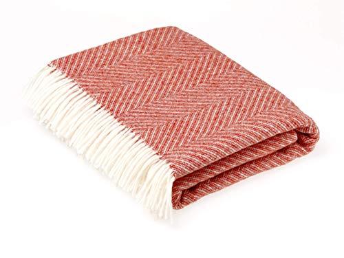 Moon Wool Throw Blanket, Pure New Wool, Herringbone Orange, Made in UK (Wool Blankets Throw)