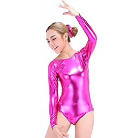 - 41WtYCZP4nL - Speerise Girls Kids Long Sleeve Shiny Metallic Dance Gymnastics Leotard