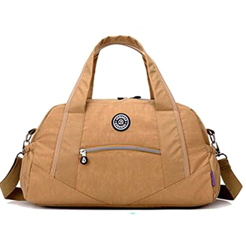 Bronze Times (TM)Travel Duffel Bag Luggage Handbag Shoulder Bag Water Resistant Nylon-Beige (Louis Handbags Vuitton Cheap)