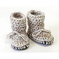 Sheepskin Tall baby booties crochet wool slippers shower gift