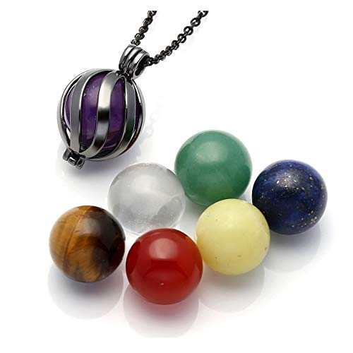 Top Plaza 7 Chakra Crystal Healing Stones Balls Necklace Reiki Yoga Meditation Locket Pendant - Twisted Ball(Black) ()