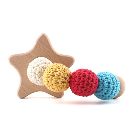 Baby Teething Wooden Chewing Bracelet Infant Ring Teether Rattle Jewelry Crochet Beads Lovey Kid Nursing Bitey Toy - Star