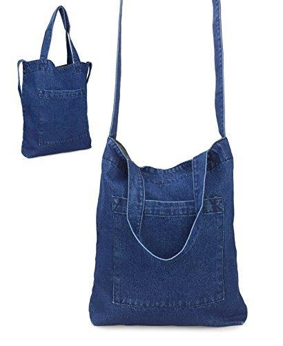 Hoxis Multifunction Pocket Soft Denim Shoulder Handbag Womes Shopper Purse (Navy)