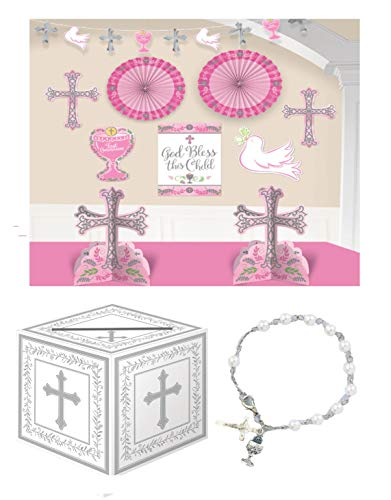 First Holy Communion Girl Party Celebration Pack - Complete Room Decorating Kit, a Gift Card Box and a Rosary Bracelet Gift ()