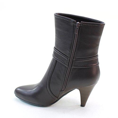 New Brieten Womens Buckle Pointed Toe Kitten Heel Short Boots Coffee i80cAfNYMu