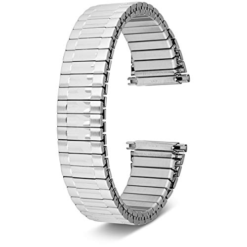 Men's Top Stainless Steel Stretch Watch Band, Oyster Style Look Expansion Tapered Metal, Choice of Colors (16mm,18mm, 20mm or 22mm) Straight and Expandable Ends, No Clasp SS - by United Watchbands