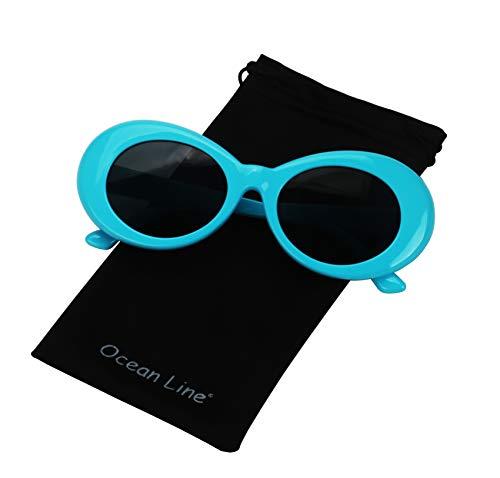 8b1f55a0ad Bold Retro Oval Mod Thick Frame Sunglasses Round Lens Kurt Cobain Clout  Goggles