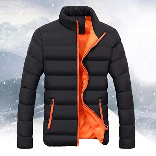 Orange Coat Collar Men's Stand Apparel Jacket Quilted Down Outerwear Lightweight Side Jacket with Sports Jacket Pockets 6wT6ZRUxq