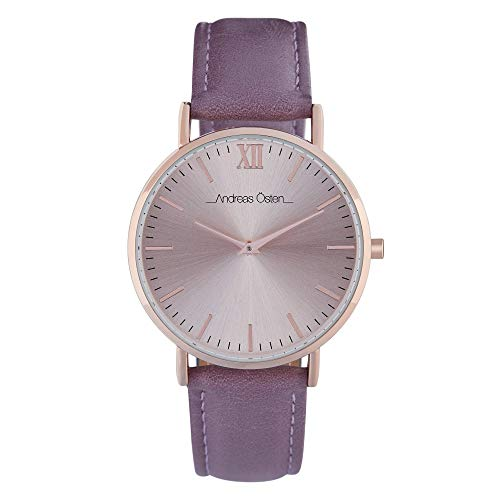 Andreas Osten Unisex Quartz Watch 36 mm Rose Gold Dial and Brown PU Bracelet AOW18012