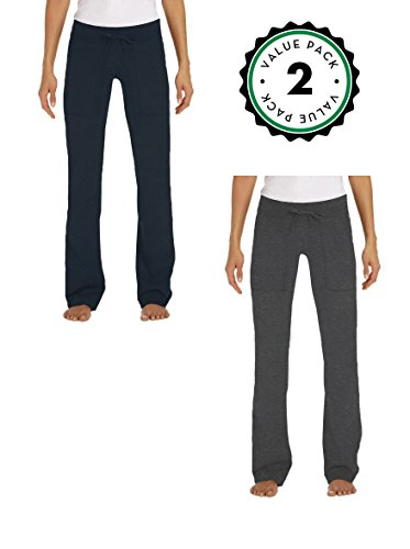 Juniors Lounge Pants, French Terry Cut / Jogger Pants - 2 Pack (Large, 1 Navy / 1 Charcoal)