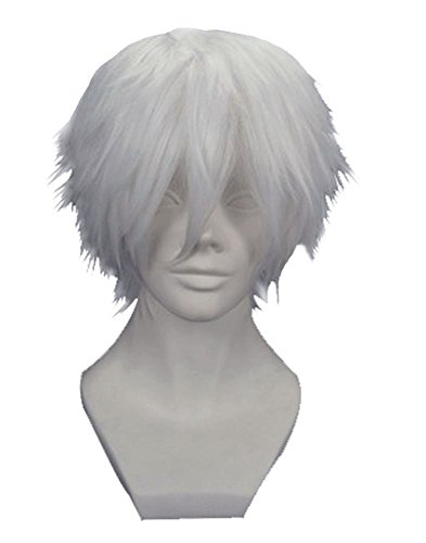 Bamboo's Grocery Tokyo Ghouls Ken Kaneki Cosplay Wig, Silver White Cosplay Costume Wigs (60's Ken Costume)