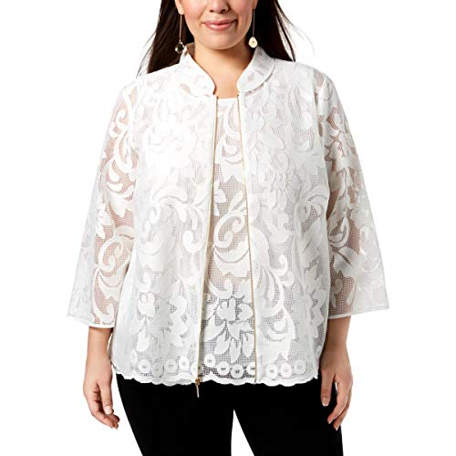 Kasper Women's Size Plus Floral LACE Jacket with Zipper, Lily White, 20W