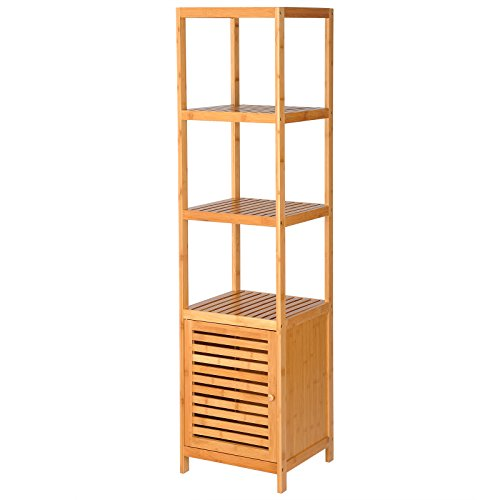 WOLTU Natural Bamboo 5-Tier Shelving Unit Bathroom Square Tower Shelf Storage Organizer Display Rack Free-Standing Utility Shelf with Cabinet, SRK05bab (Cabinet Bathroom Bamboo)