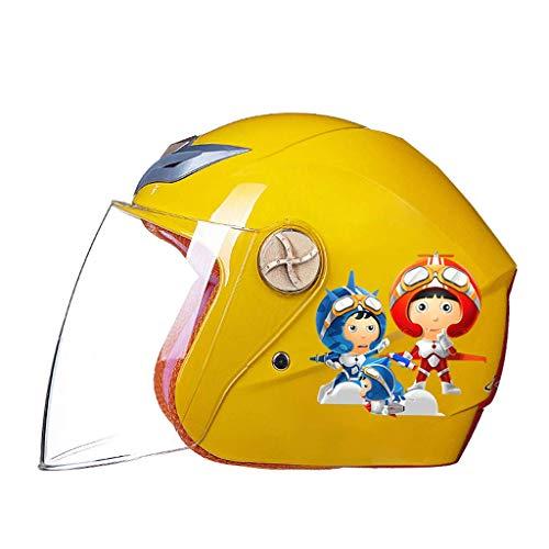 Lxhff JIE KE Motorcycle Electric Car Child Helmet Men and Women Children Baby Cute Cartoon Summer Half Helmet Helmet (Color : Yellow, Size : 28x23x21cm) from Lxhff