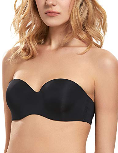 DOBREVA Women's Smooth Multiway Strapless Bra Padded Underwired Convertible Black 38C (Skin Underwired Bra)