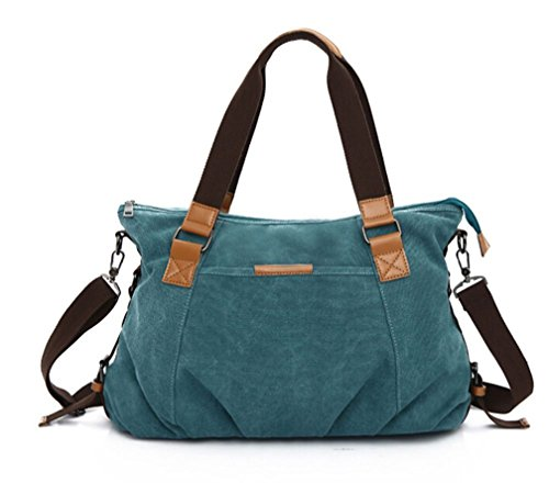 KISS GOLD Retro abwaschbare Damen Schultertasche Canvas Totes Hobo Bag, Blau