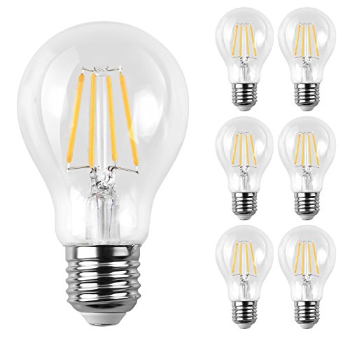 E26 Led (Ascher E26 LED Classic Light Bulbs / 6W, Equivalent 60W, 800lm / Warm White 2700K / Filament Clear Glass / Non Dimmable / Pack of 6)