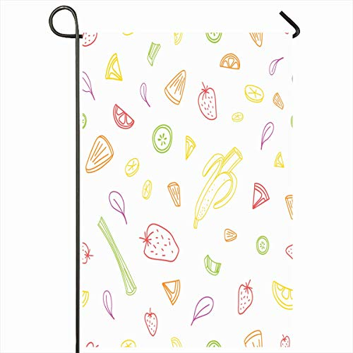 Ahawoso Garden Flag 12x18 Inches Endless Banana Slices Pieces Tasty Vegetables Food Piece Drink Berry Celery Citrus Colored Contour Outdoor Seasonal Home House Yard Sign Double Sides Printed - Drink Banana Berry