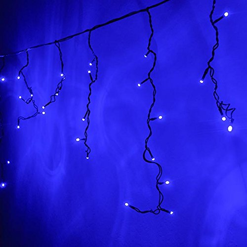 Blue Led Icicle Lights With Green Wire in US - 3