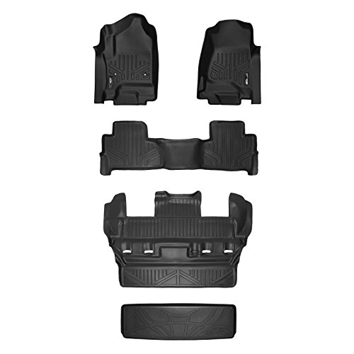 (SMARTLINER Custom Fit Floor Mats 3 Rows and Cargo Liner Behind 3rd Row Set Black for 2015-2019 Chevy Tahoe/GMC Yukon)
