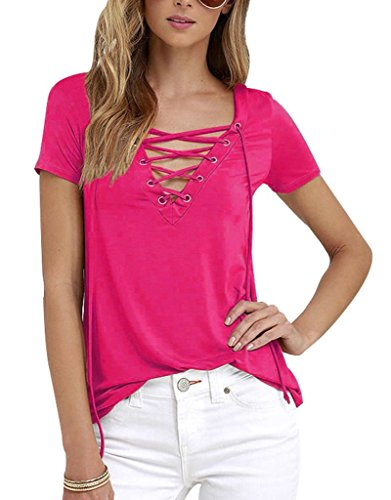 Sumtory Women's Sexy V Neck Bandage Short Sleeve T Shirt Tops – Small, RoseRed