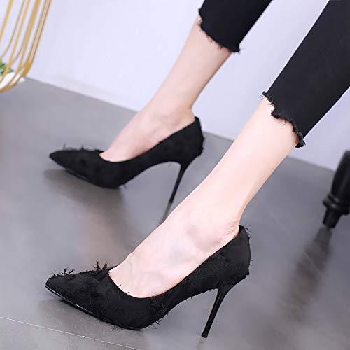 Yukun zapatos de tacón alto Tacones Altos, Estilete, Acentuado, Hembra Salvaje, Solo, Zapatos, Princesa, Otoño Black