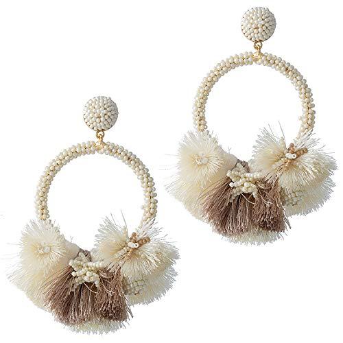 Beige Beaded Fringe Earrings Hoop Tassel Earrings Fringe For Women Fashion Statement Bohemian Large Fanned Earrings Big Layered Hanging Silk Thread Boho Tassel Fringe Earrings For Gift