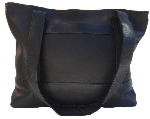 (Piel Leather Outdoor Travel Portable Top-Zip Tote Bag - Black)