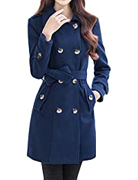 Women's Turn Down Collar Double-Breasted Long Woolen Coat with Belt