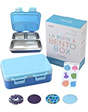 Stainless Steel Bento Lunch Box for Kids Toddlers Boys, 3 Insulated Eco Metal Portion Sections Leakproof Lid, Pre-School Daycare Lunches and Snack Container Kids Ages 3 to 5 Blue