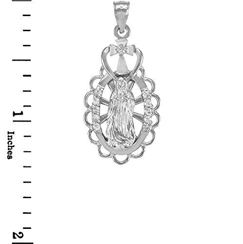 Collier Femme Pendentif 10 Ct Or Blanc Vierge Marie Guadalupe (Livré avec une 45cm Chaîne)