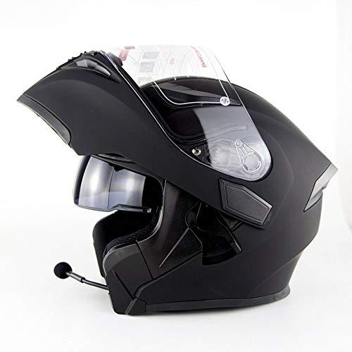 WMING Motocicleta Bluetooth Casco, Multi-función de Doble Lente Anti-Niebla Casco con Auricular Bluetooth, Hombres y Mujeres...
