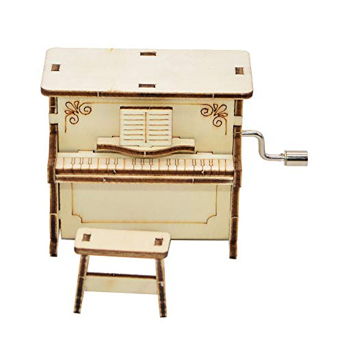 millet16zjh DIY Wooden Piano Shape Music Box Hand Crank Musical Educational Kids Toy Gift ()