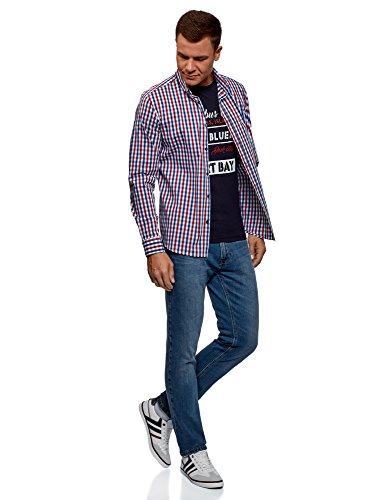 A Quadri Camicia Con Uomo Lunghe Maniche Oodji Ultra Blu 7945c wq4tII