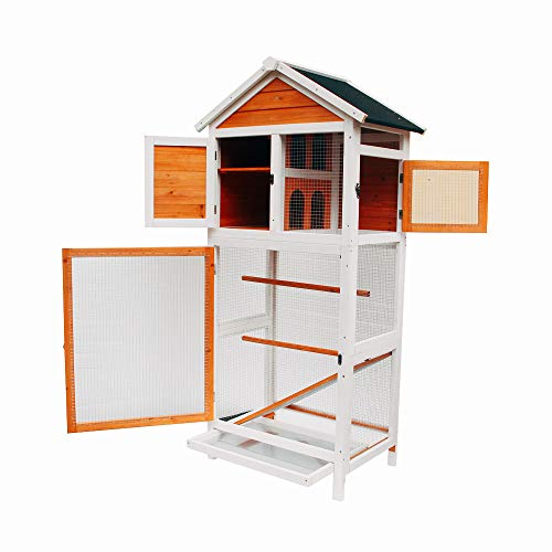 Xinfupo Wooden Bird Cage Aviary Flight House Cage with Nesting Box Feed Door, Trays for Birds Chipmunks Cat Cockatiel Parakeet Canary Finch Conure Play House Pet Supply White & Dark Brown ()