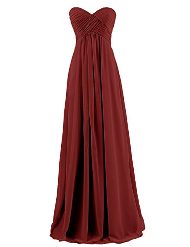 DRESSTELLS Sweetheart Bridesmaid Chiffon Prom Dresses Long Evening Gowns Burgundy Size14