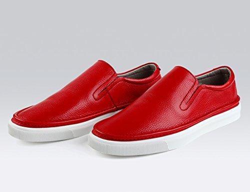 casual Scarpe uomo Pelle casual da in 5 Colore con UK5 pelle dimensioni longe EU38 in in HWF Rosso Scarpe primavera scarpe stile Rosso estate Uomo TA0xdtwq
