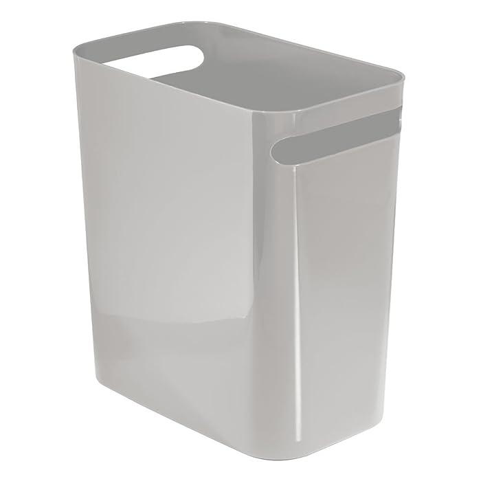 "mDesign Slim Plastic Rectangular Large Trash Can Wastebasket, Garbage Container Bin, Handles for Bathroom, Kitchen, Home Office, Dorm, Kids Room - 12"" High, Shatter-Resistant - Gray"